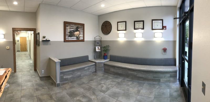 The waiting area in the front lobby
